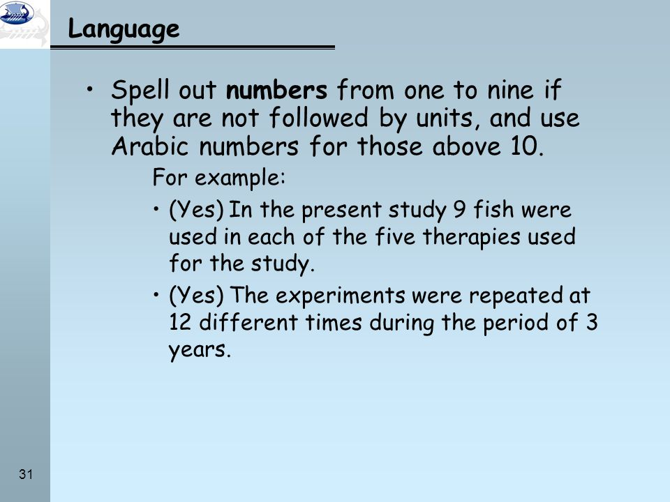 Language Spell out numbers from one to nine if they are not followed by units, and use Arabic numbers for those above 10.