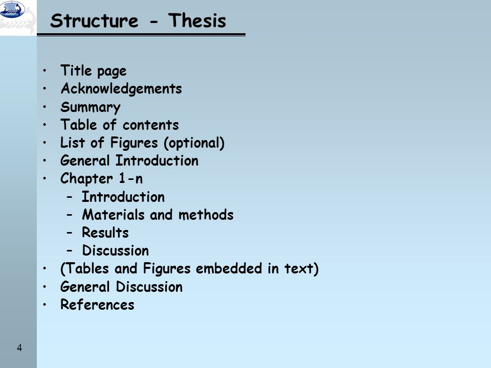 Structure - Thesis Title page Acknowledgements Summary
