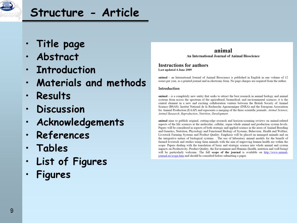 Structure - Article Title page Abstract Introduction