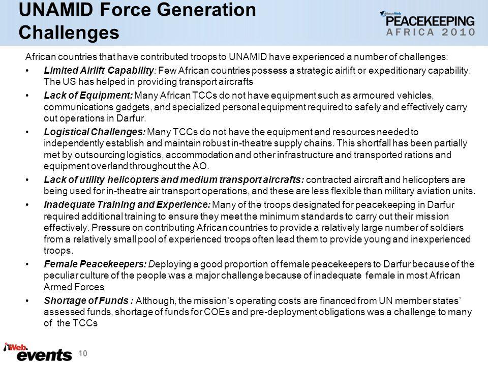 UNAMID Force Generation Challenges