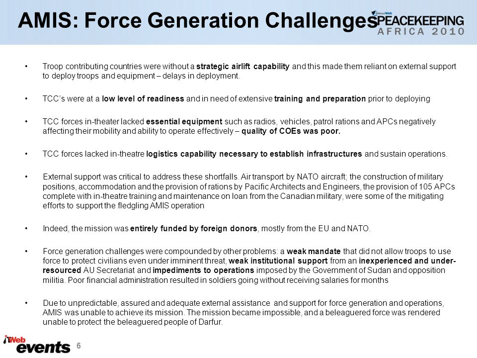 AMIS: Force Generation Challenges
