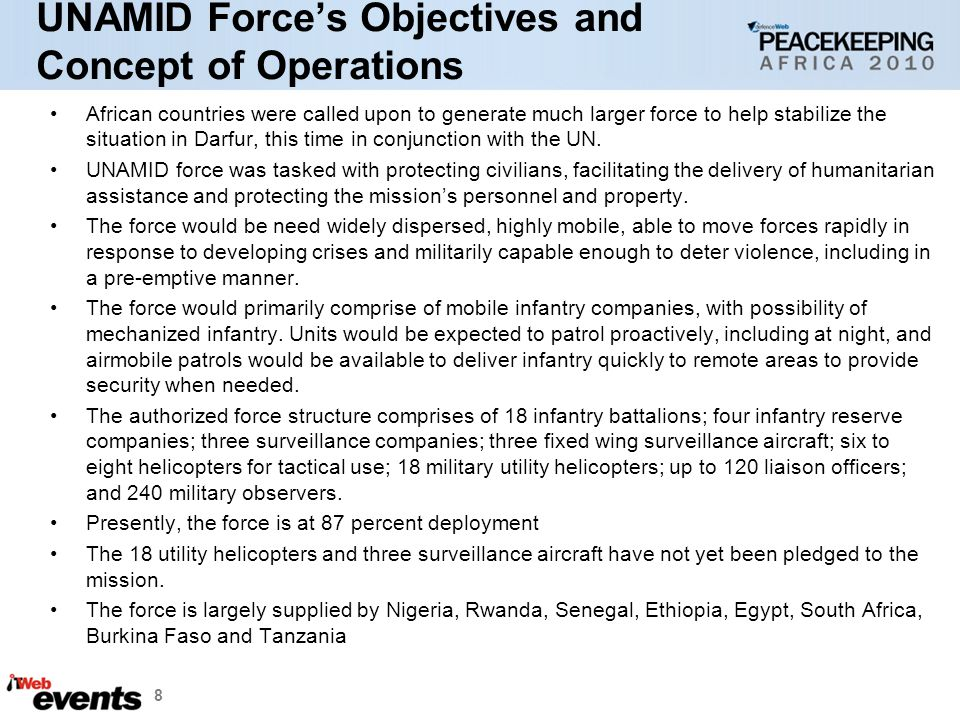 UNAMID Force's Objectives and Concept of Operations