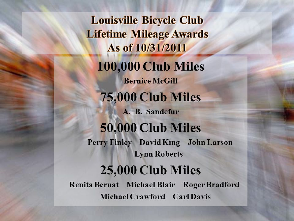 Louisville Bicycle Club Lifetime Mileage Awards As of 10/31/2011