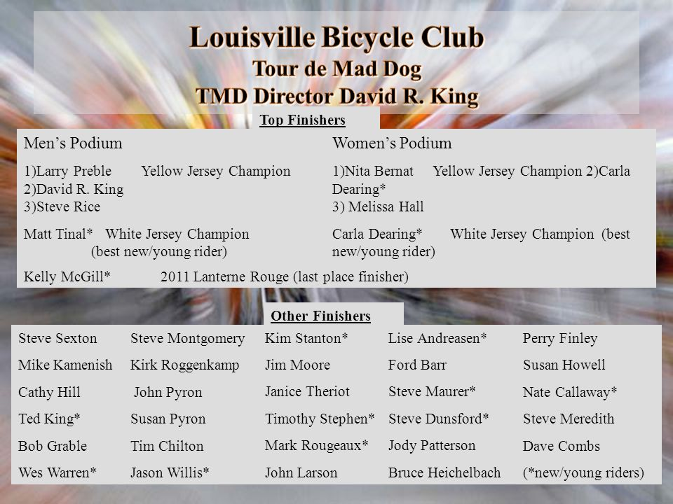 Louisville Bicycle Club Tour de Mad Dog TMD Director David R. King
