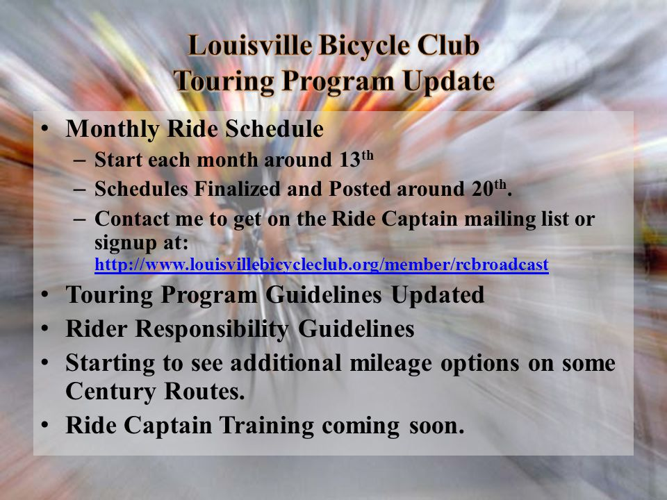Louisville Bicycle Club Touring Program Update