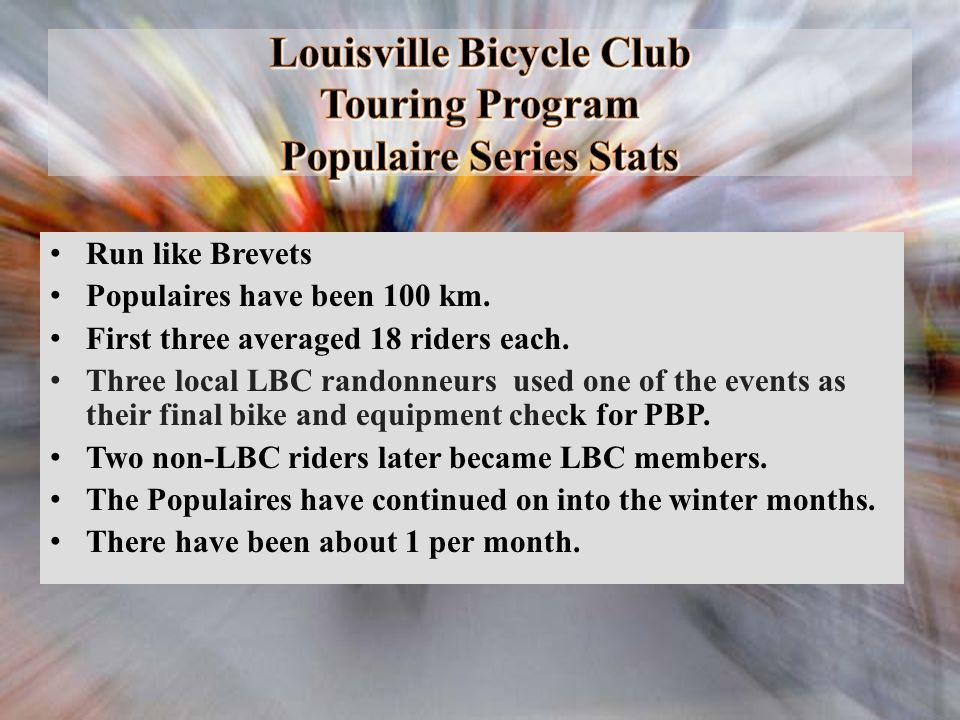Louisville Bicycle Club Touring Program Populaire Series Stats
