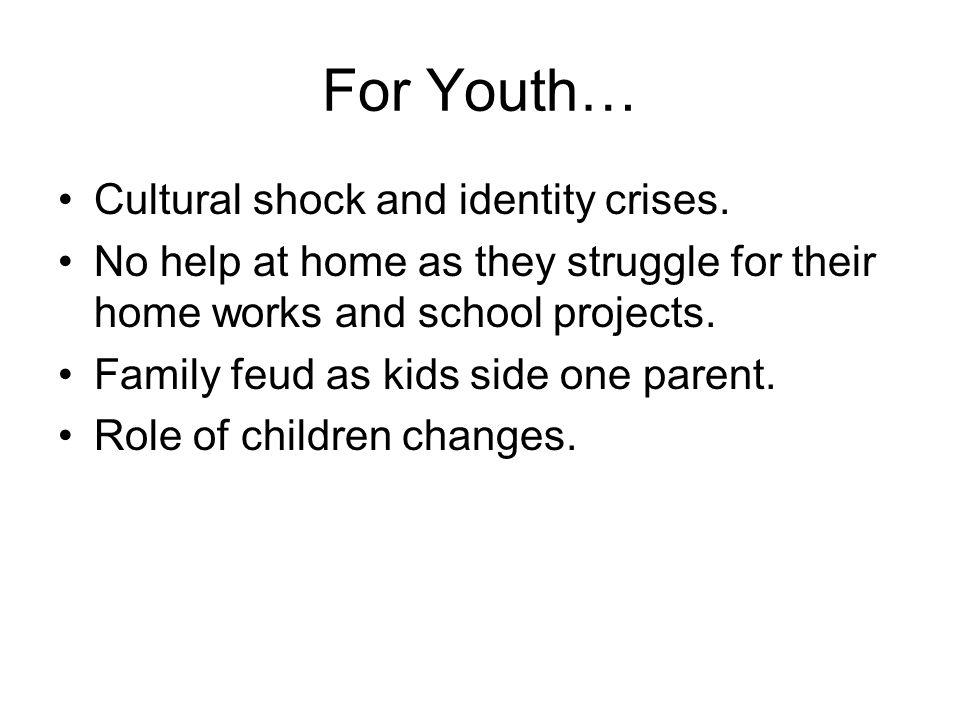 For Youth… Cultural shock and identity crises.