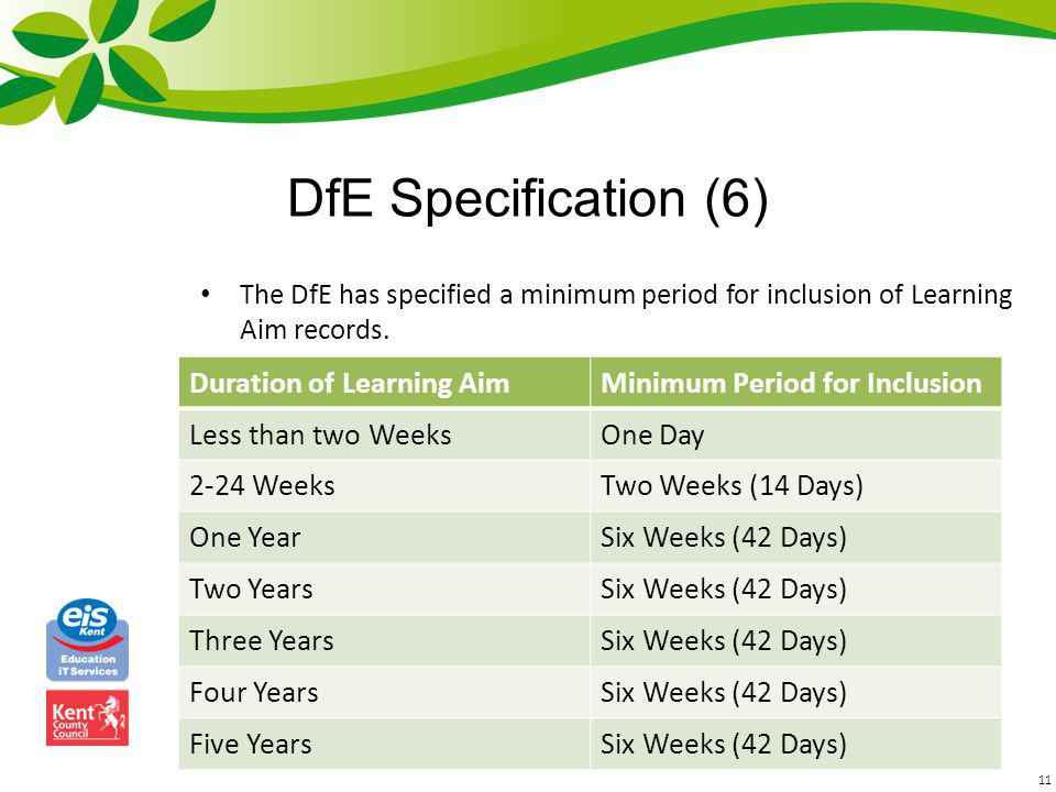 DfE Specification (6) Duration of Learning Aim
