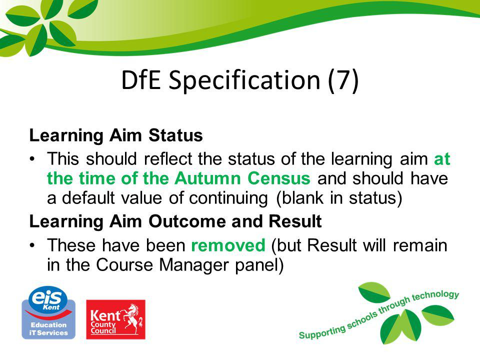 DfE Specification (7) Learning Aim Status
