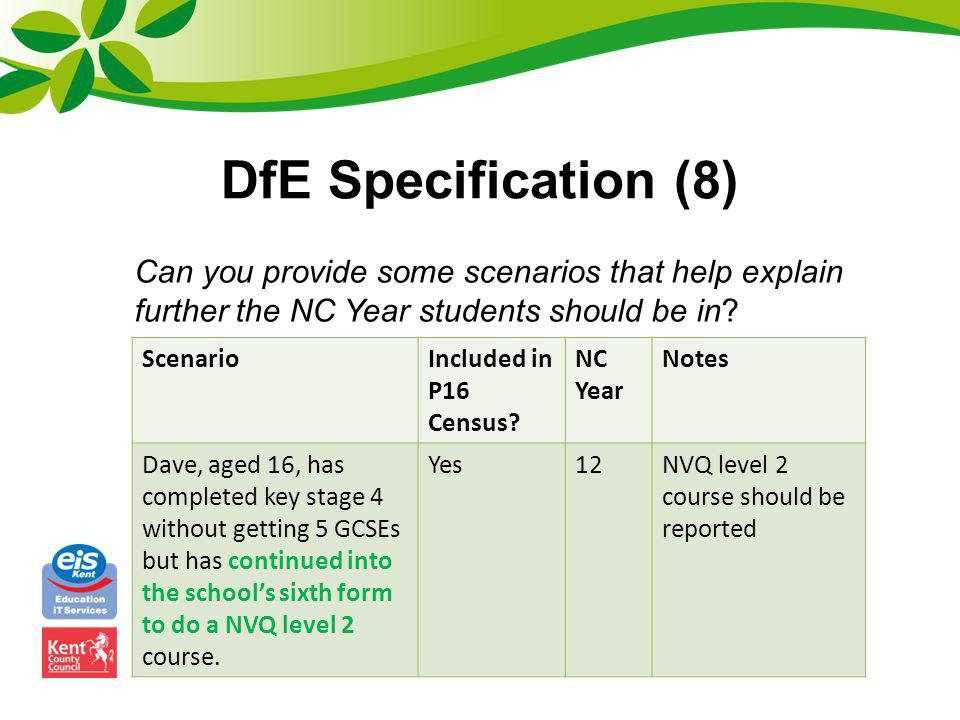 DfE Specification (8) Can you provide some scenarios that help explain further the NC Year students should be in