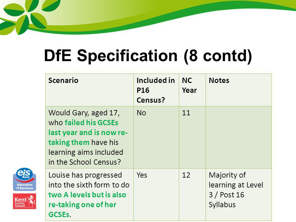 DfE Specification (8 contd)