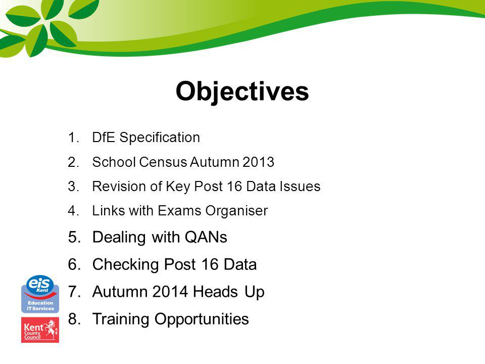 Objectives Dealing with QANs Checking Post 16 Data