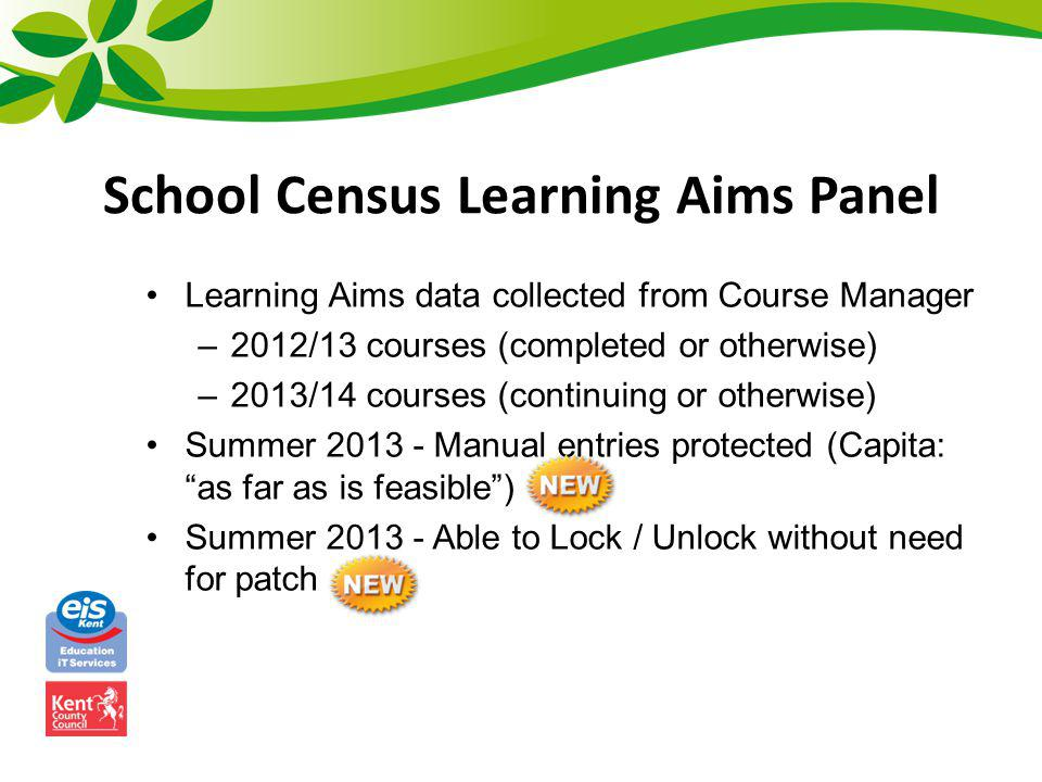 School Census Learning Aims Panel