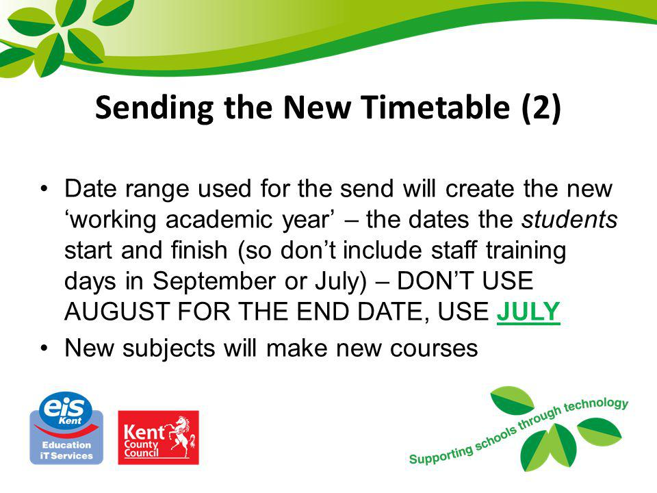 Sending the New Timetable (2)