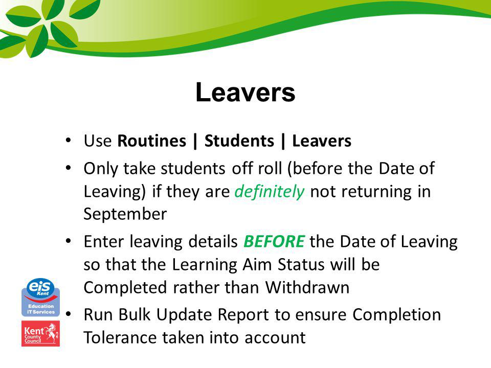 Leavers Use Routines | Students | Leavers