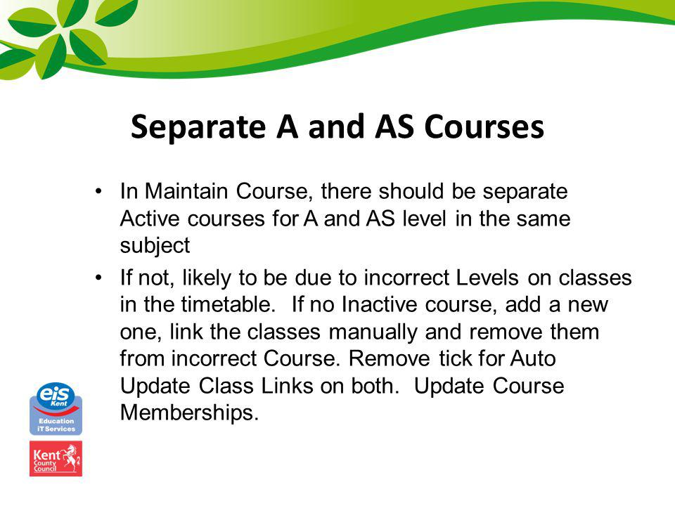 Separate A and AS Courses