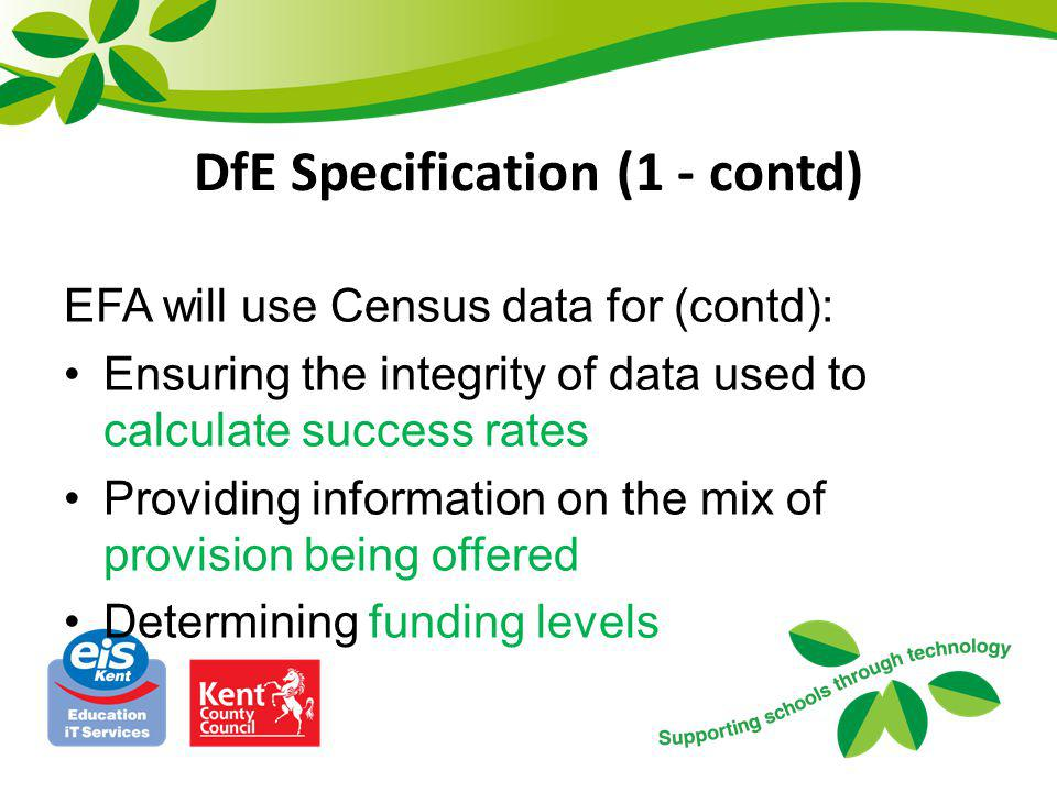 DfE Specification (1 - contd)