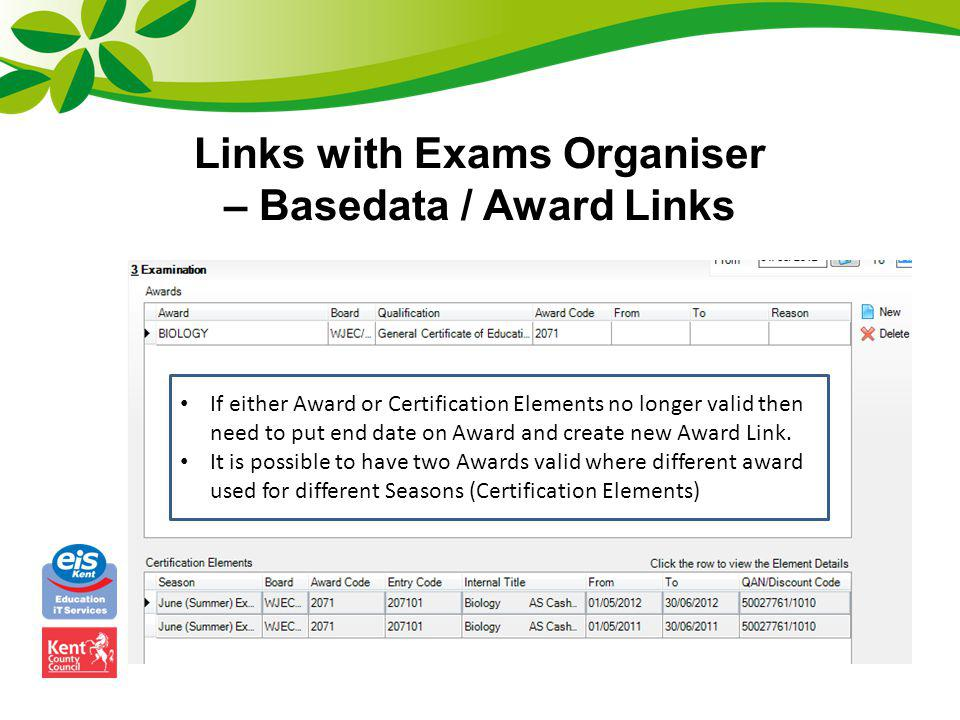 Links with Exams Organiser – Basedata / Award Links