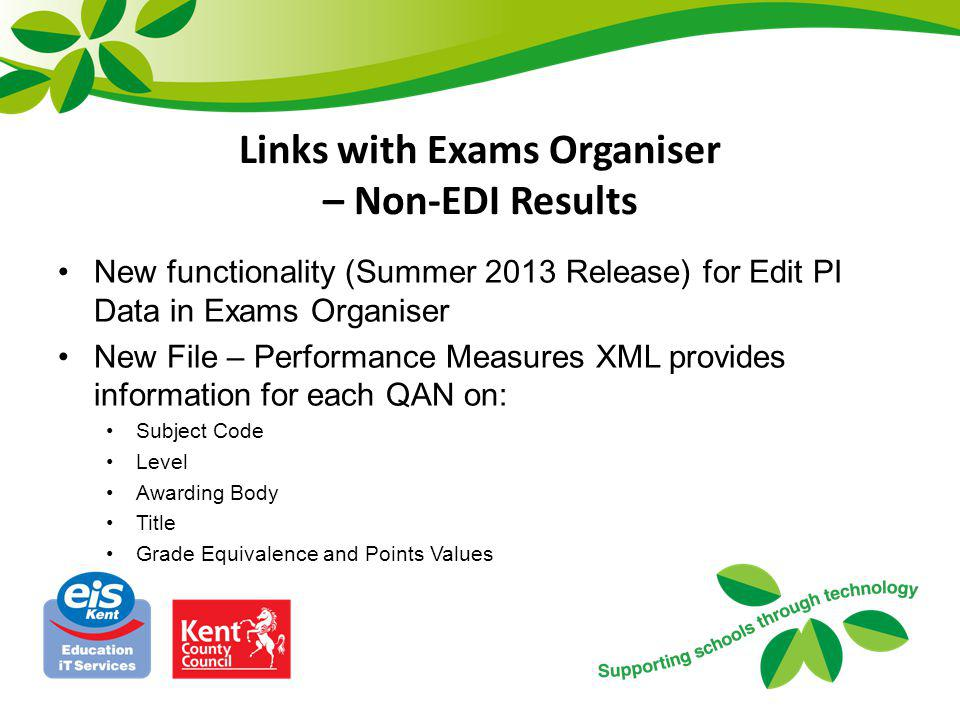 Links with Exams Organiser – Non-EDI Results