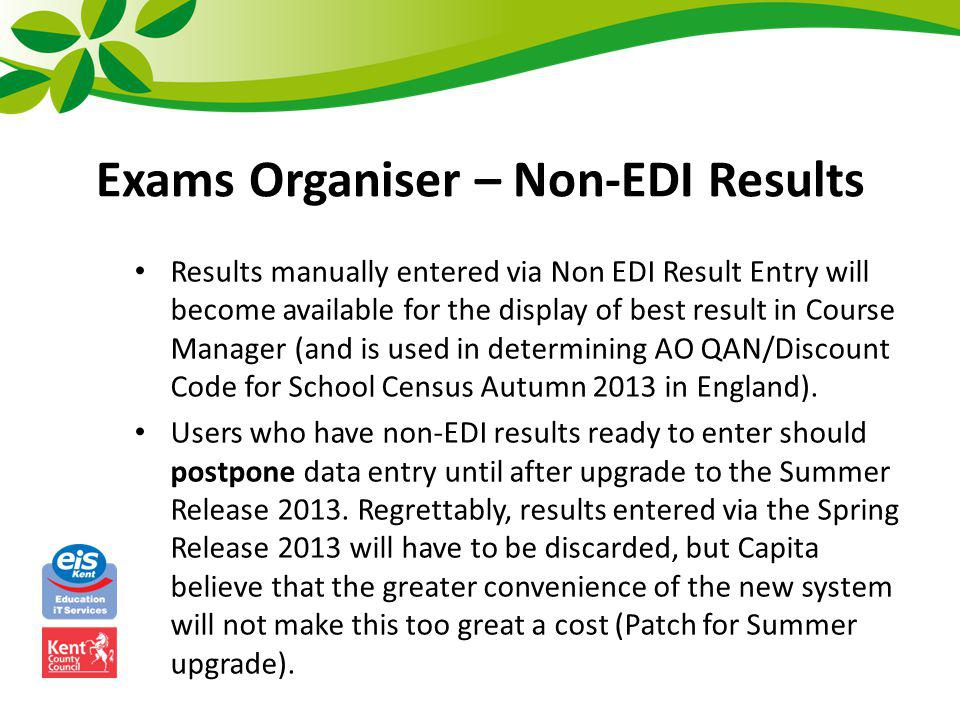 Exams Organiser – Non-EDI Results
