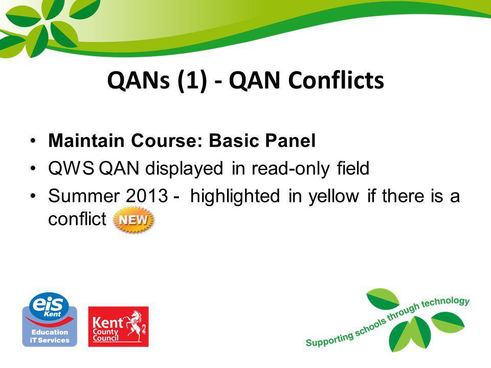 QANs (1) - QAN Conflicts Maintain Course: Basic Panel