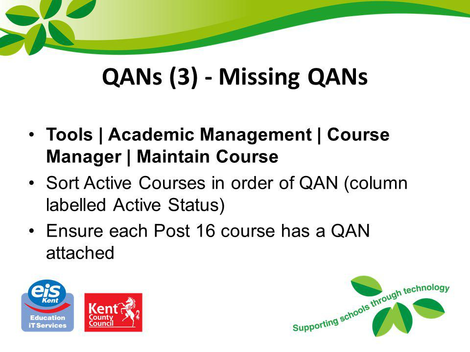 QANs (3) - Missing QANs Tools | Academic Management | Course Manager | Maintain Course.