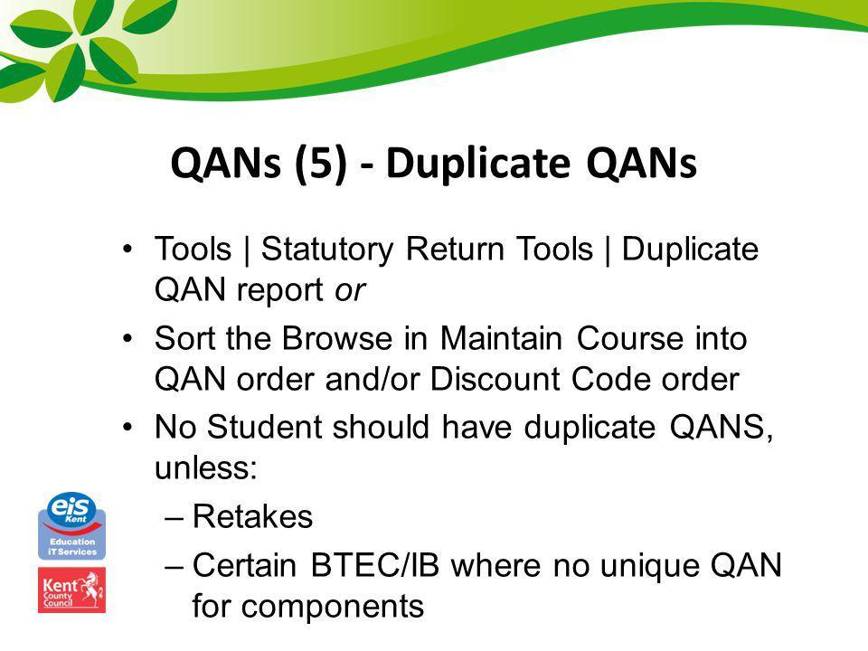 QANs (5) - Duplicate QANs