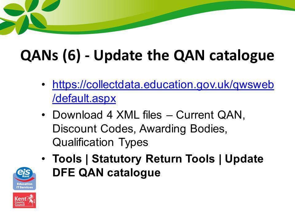 QANs (6) - Update the QAN catalogue