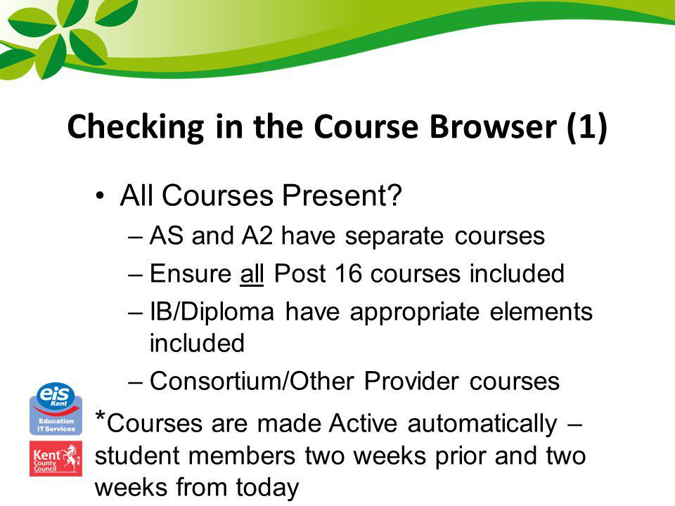 Checking in the Course Browser (1)