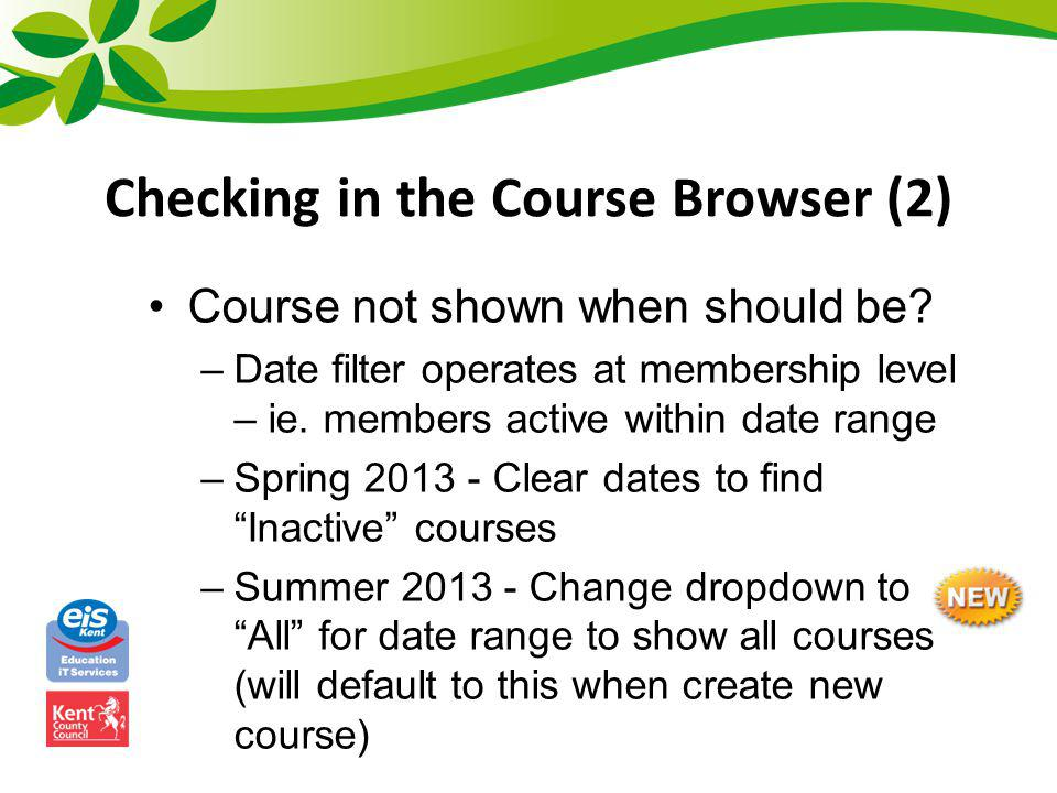 Checking in the Course Browser (2)