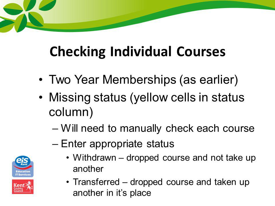 Checking Individual Courses