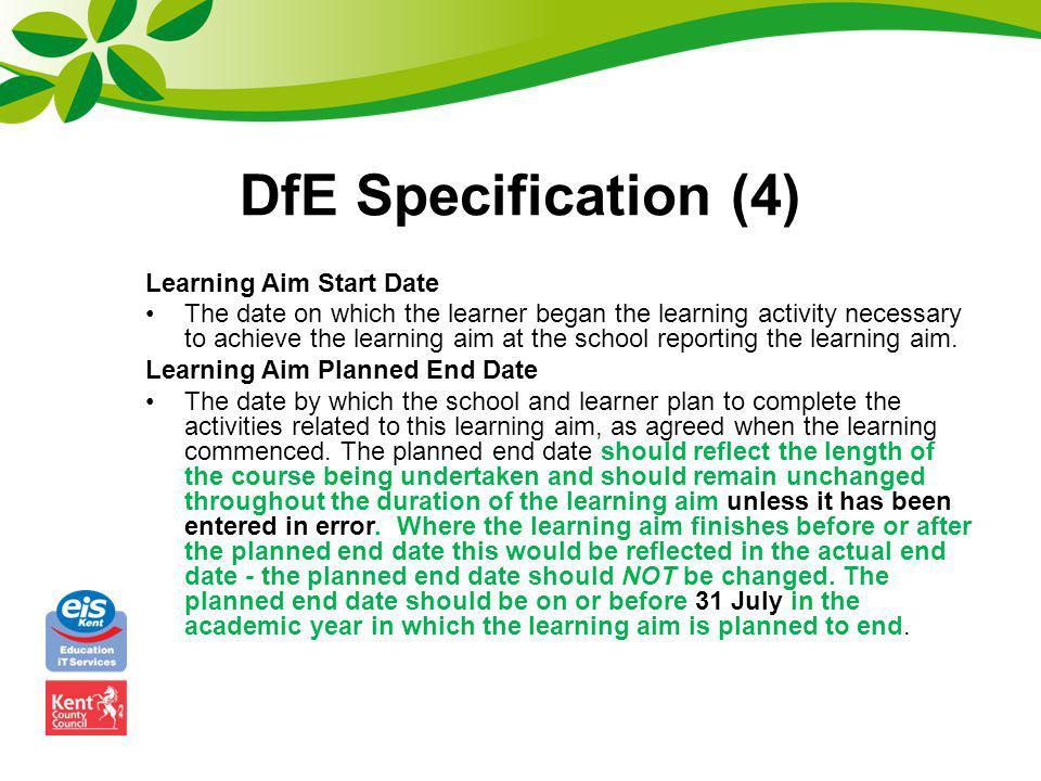 DfE Specification (4) Learning Aim Start Date