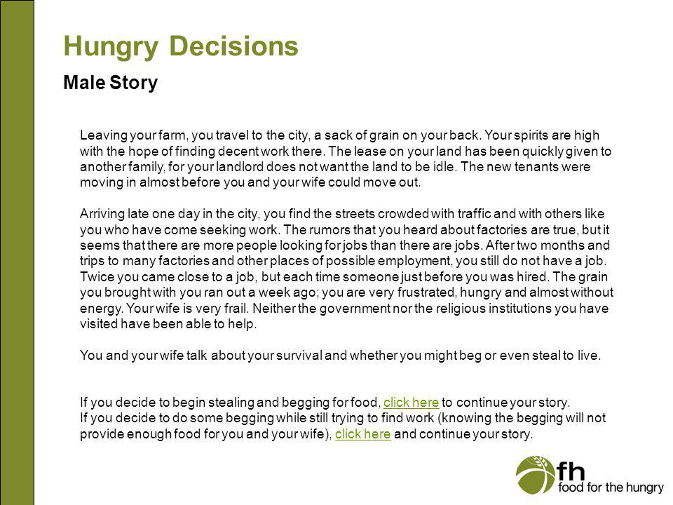 Hungry Decisions Male Story m7