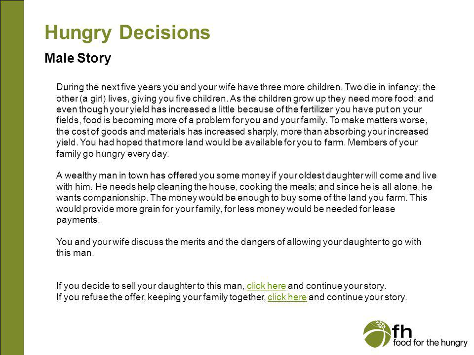 Hungry Decisions Male Story m8