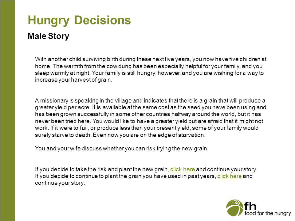 Hungry Decisions Male Story m10