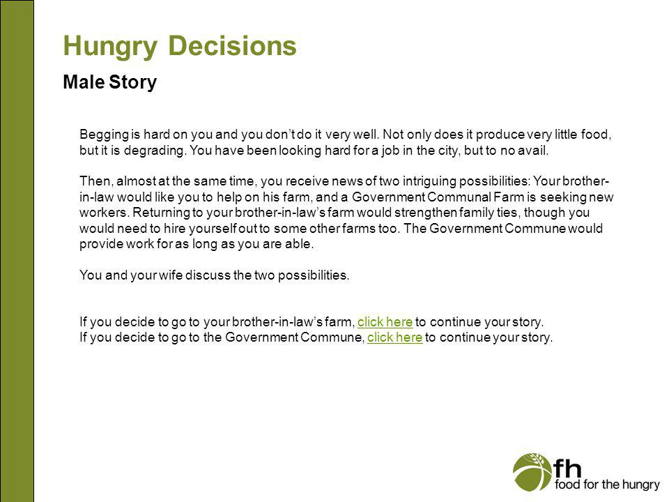 Hungry Decisions Male Story m15