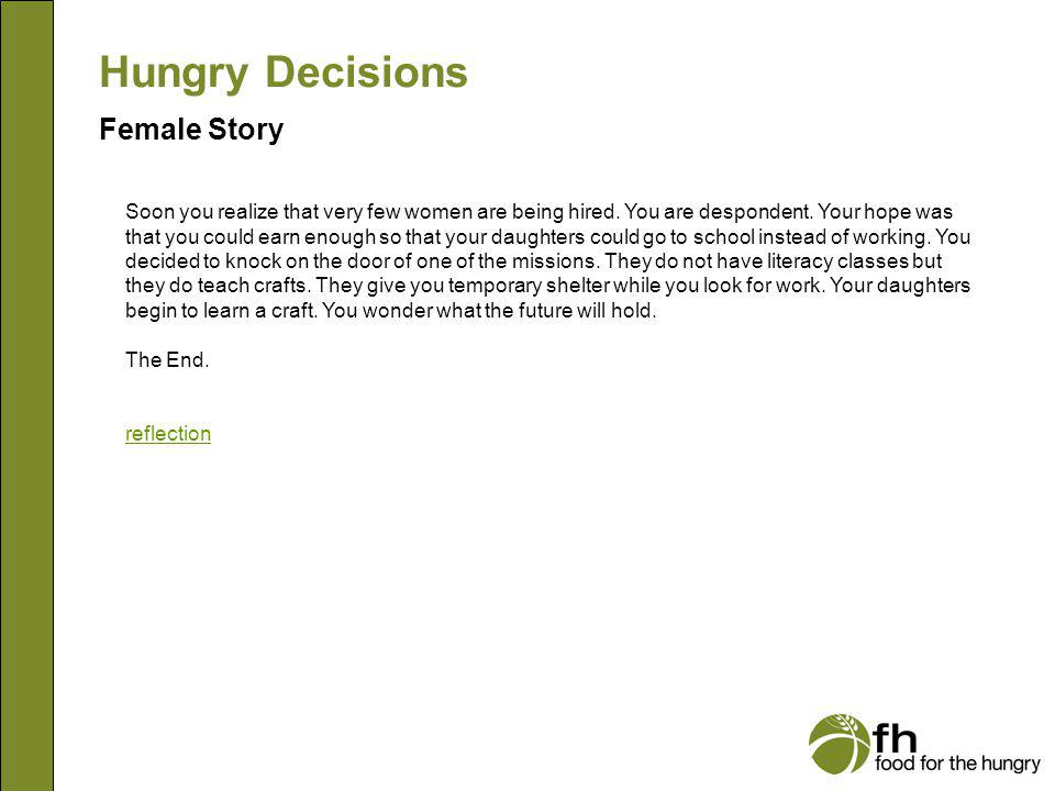 Hungry Decisions Female Story f30