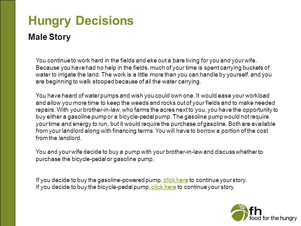 Hungry Decisions Male Story m6
