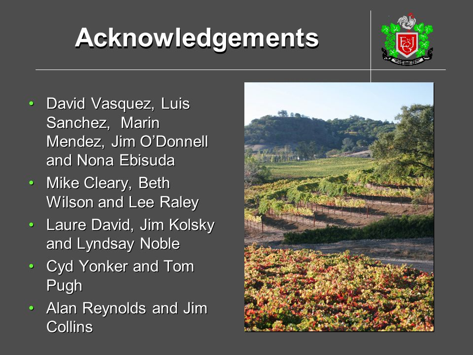 Acknowledgements David Vasquez, Luis Sanchez, Marin Mendez, Jim O'Donnell and Nona Ebisuda. Mike Cleary, Beth Wilson and Lee Raley.
