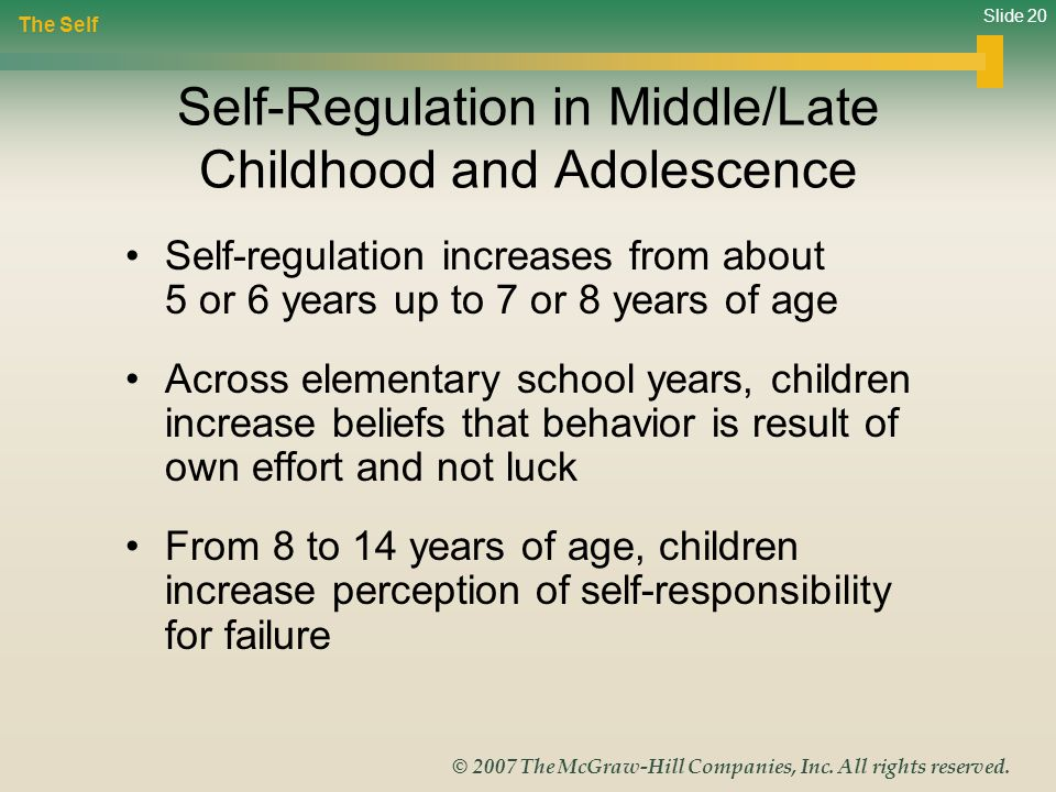 Self-Regulation in Middle/Late Childhood and Adolescence