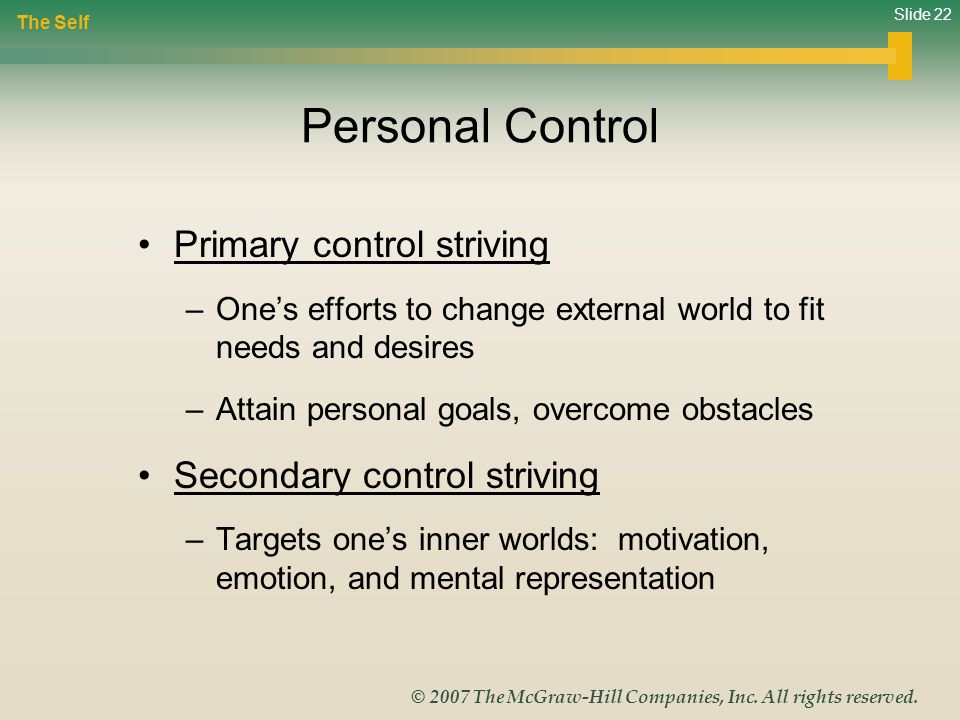 Personal Control Primary control striving Secondary control striving