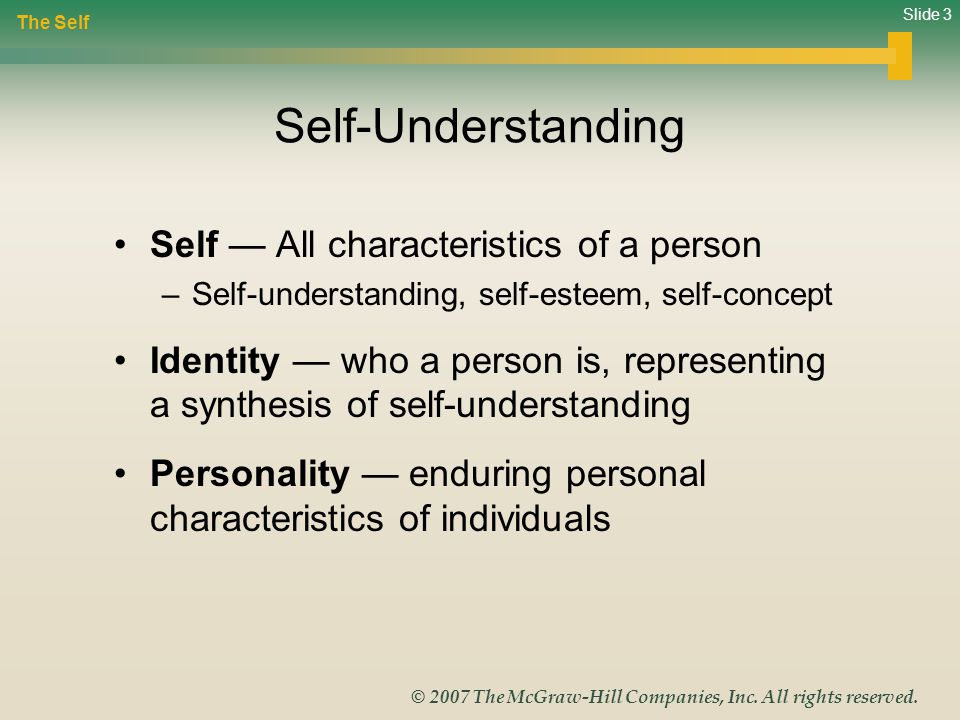 Self-Understanding Self — All characteristics of a person