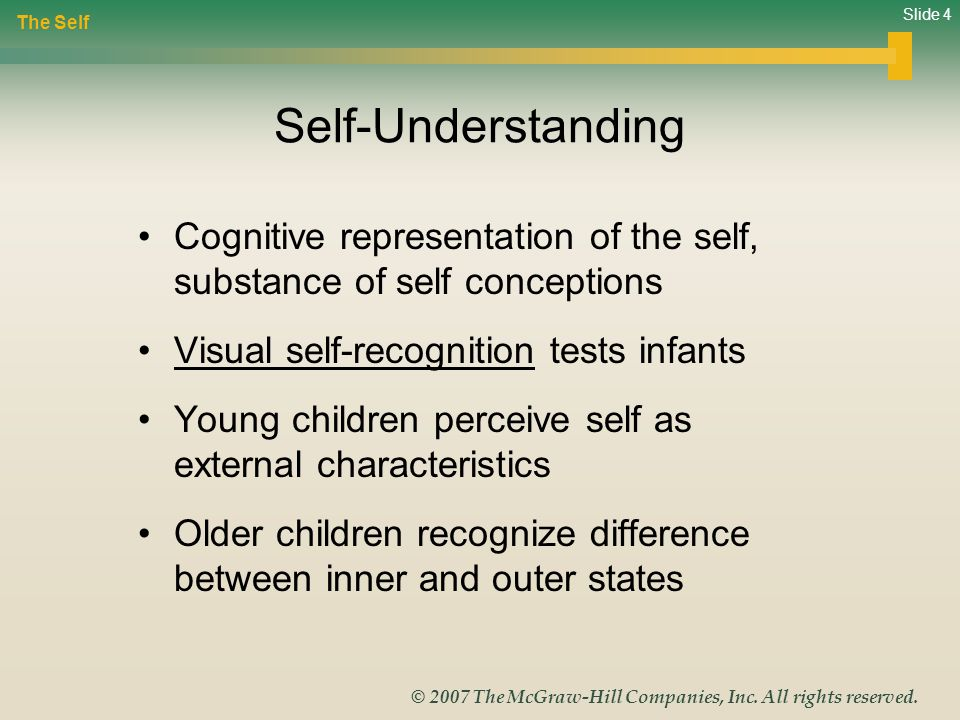 The Self Self-Understanding. Cognitive representation of the self, substance of self conceptions. Visual self-recognition tests infants.