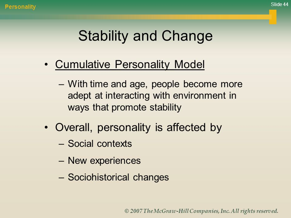 Stability and Change Cumulative Personality Model
