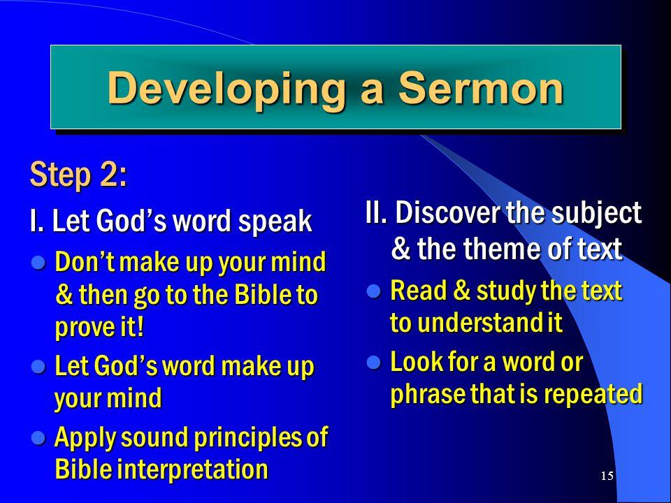 Developing a Sermon Step 2: