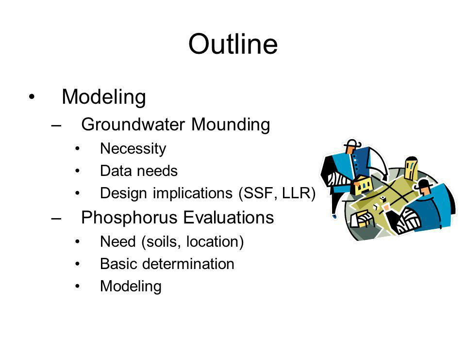 Outline Modeling Groundwater Mounding Phosphorus Evaluations Necessity