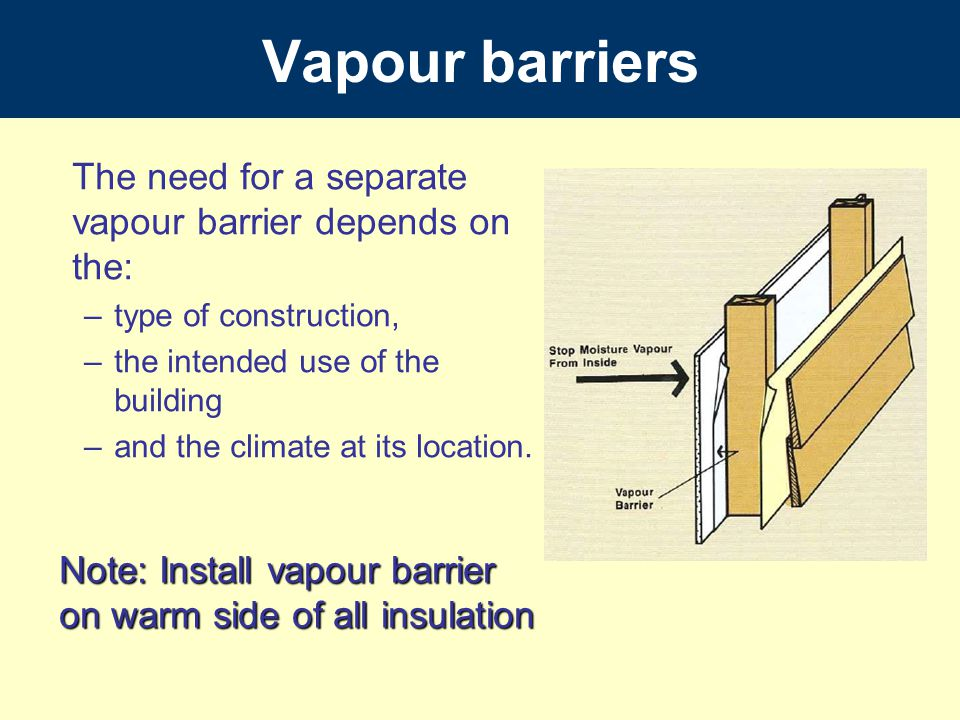 Vapour barriers The need for a separate vapour barrier depends on the: