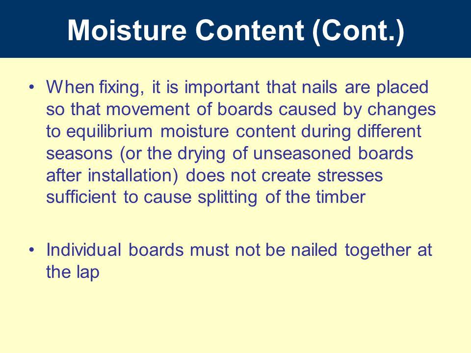 Moisture Content (Cont.)