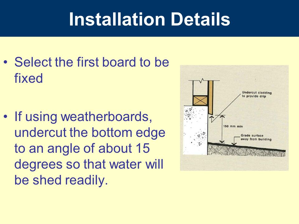 Installation Details Select the first board to be fixed