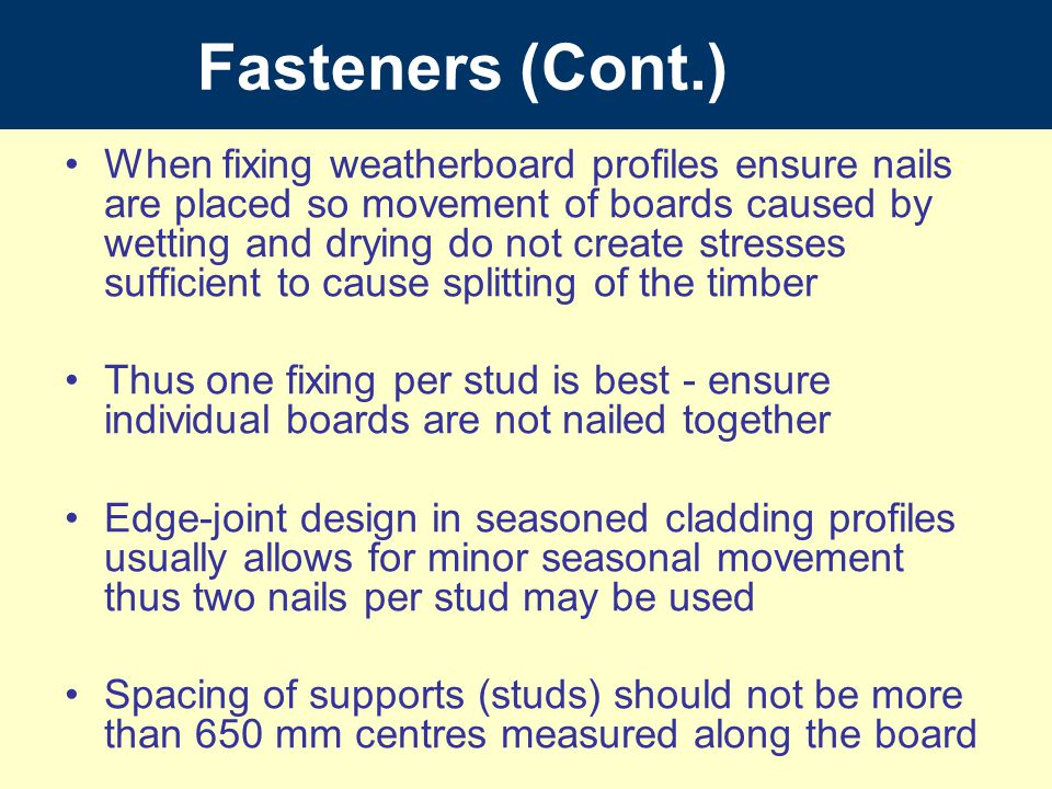 Fasteners (Cont.)